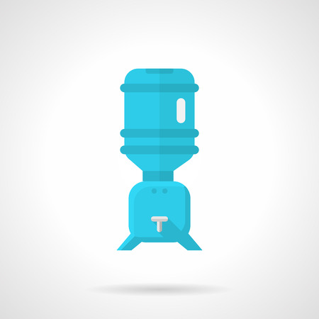 hydrate: Flat color design vector icon for blue water cooler with rack for potable water with bottle on white background.