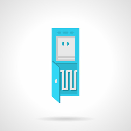 water cooler: Flat color design vector icon for blue water cooler with compressor section on white background. Illustration