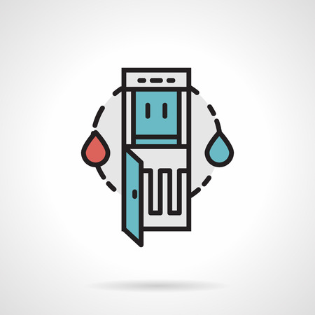 water cooler: Flat line design colored vector icon for abstract water cooler and red hot and cool blue drops on white background. Illustration