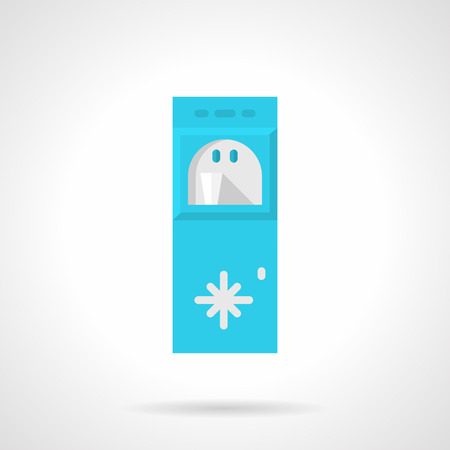 water cooler: Single flat color style vector icon for vertical blue water cooler with cup on white background.