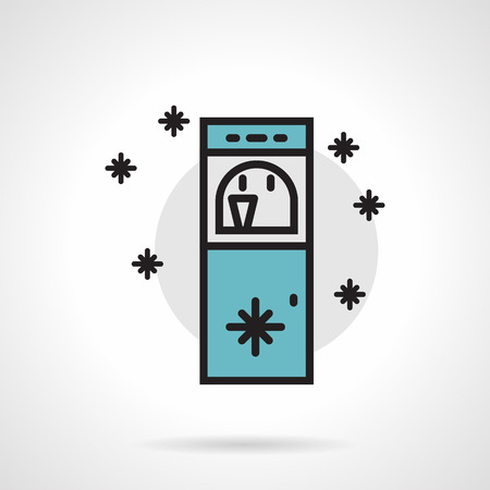 non alcoholic: Flat line design colored vector icon for water cooler with abstract snowflakes on white background. Illustration