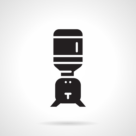potable: Flat design vector icon with black silhouette table cooler of potable water on white background.