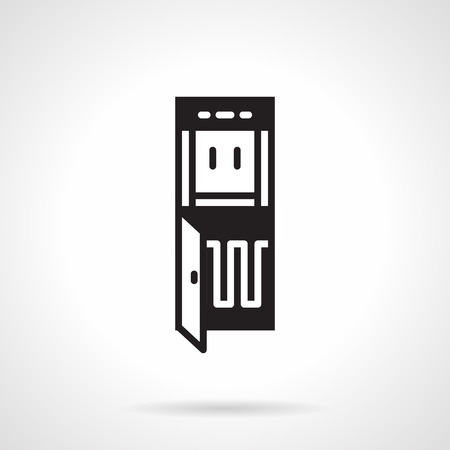 water cooler: Flat design vector icon with black contour water cooler of potable water on white background.
