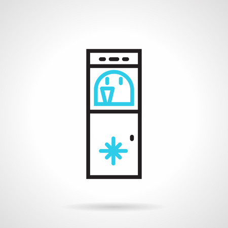 cooler boxes: Black and blue flat line design vector icon for water cooler with freezer on white background.