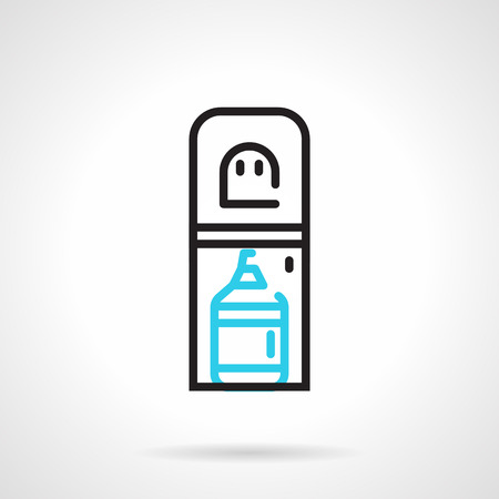 bottom line: Black and blue flat line design vector icon for water cooler with a bottom loading bottle on white background. Illustration