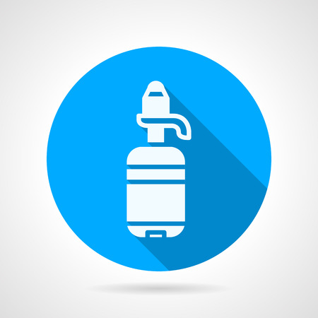 Blue round flat design vector icon with white silhouette water in plastic bottle with a hand pump on gray background with long shadows. Illustration