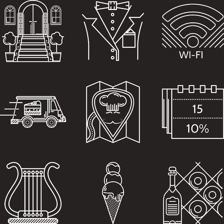 lyra: Set of white flat line vector icons for restaurant serving elements on black background.