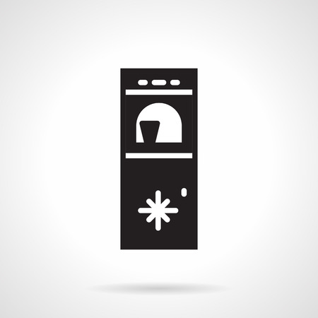 freezer: Black silhouette vector icon for water cooler with freezer section on white background.