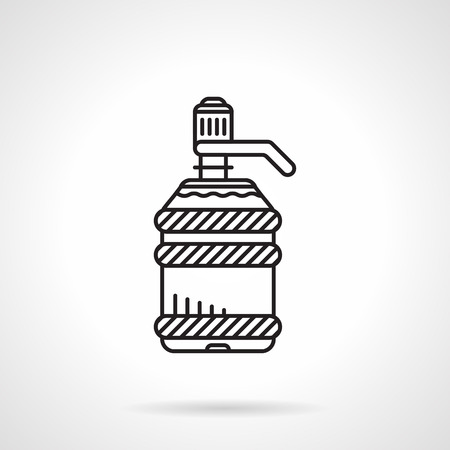 distillation: Black flat line style vector icon for large plastic bottle with pump with water cooler on white background.