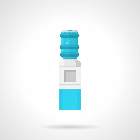 water cooler: Flat color style vector icon for gray water cooling system with blue elements and full bottle on white background.