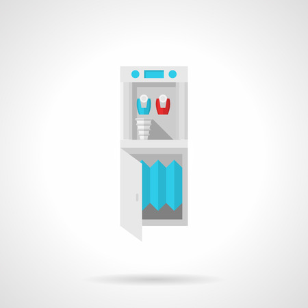 boiling tube: Flat color style vector icon for purifier and cooler machine for potable water on white background.