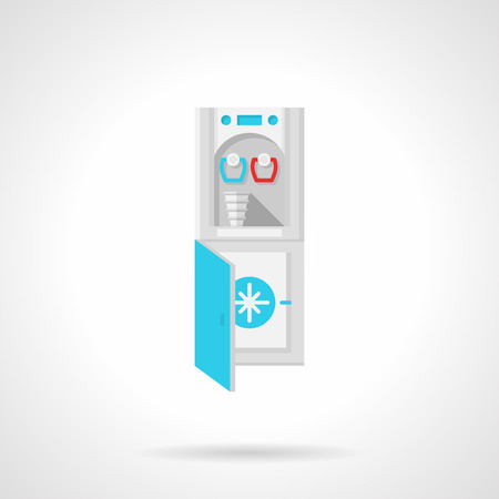 freezer: Flat color style vector icon for water cooler and freezer machine for potable water on white background.