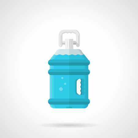potable: Flat color style vector icon for full bottle of potable water on white background.