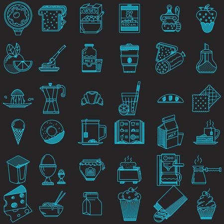 honey jar: Set of 36 blue flat line vector icons for food on black background.