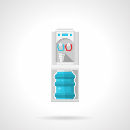 water cooler: Single flat color style vector icon for vertical water cooler with full bottle on white background.