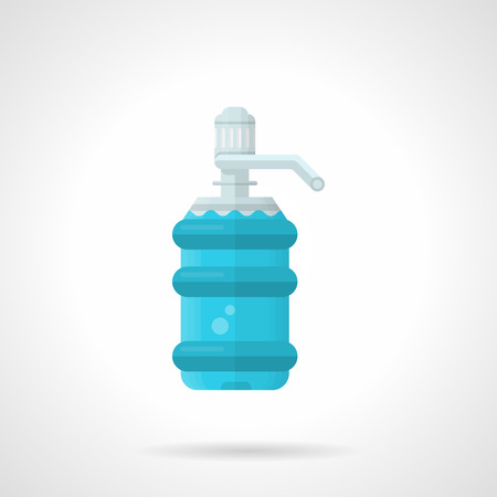 water cooler: Flat color design vector icon for full water plastic bottle with pump for water cooler on white background.