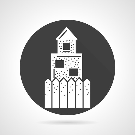 barricade: Black round flat design vector icon with white silhouette wall or barricade for paintball  game on gray background.
