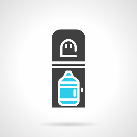 water cooler: Flat color design vector icon for black water cooler with full bottle of potable water on white background. Illustration