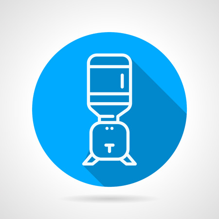 water cooler: Flat blue round vector icon with white line portable water cooler with single faucet for room or office on gray background with long shadows.