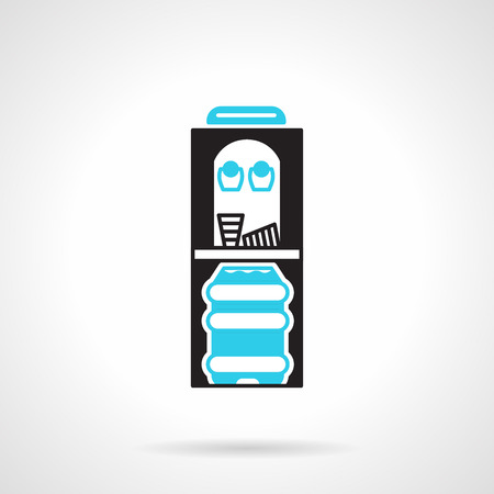 water cooler: Black and blue flat color design vector icon for black water cooler with two cups and water bottle on white background.