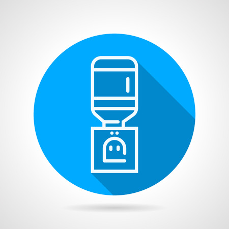 water cooler: Flat blue round vector icon with white line portable water cooler for office on gray background with long shadows. Illustration