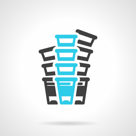 Black and blue flat line design vector icon for three stacks of plastic disposable cups on white background. Illustration