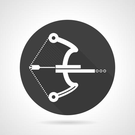 armbrust: Schwarze runde flache Design-Vektor-Symbol mit wei�er Silhouette Armbrust mit Kugeln f�r Paintball auf grauem Hintergrund