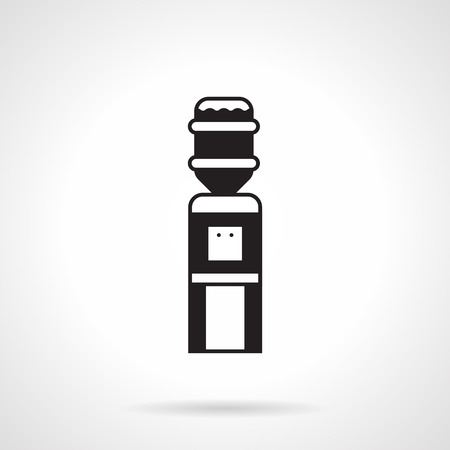 water cooler: Flat monochrome black vector icon for vertical office water cooler on white background.