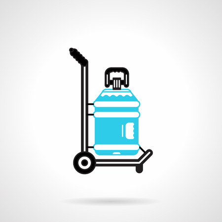 potable: Black and blue color flat design vector icon for truck with large bottle with label for potable water delivery service on white background. Illustration