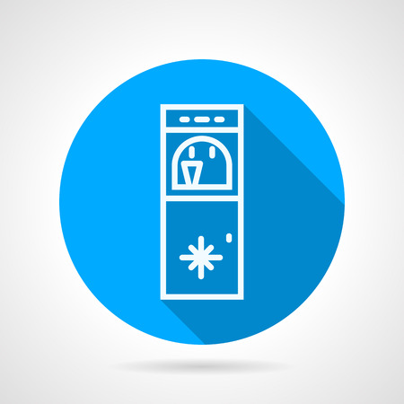 water cooler: Blue round flat design vector icon with white line water cooler with ice water on gray background with long shadows.