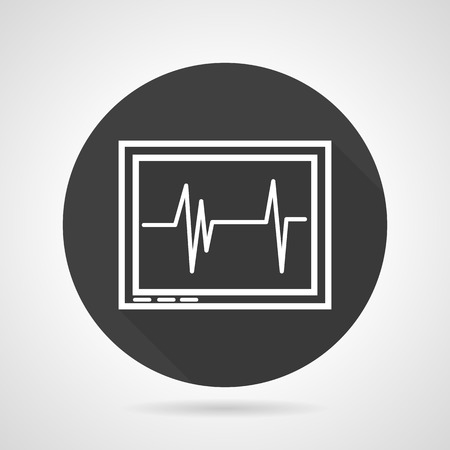 pulsating: Black round flat design vector icon with white line monitor with cardiogram on gray background. Illustration