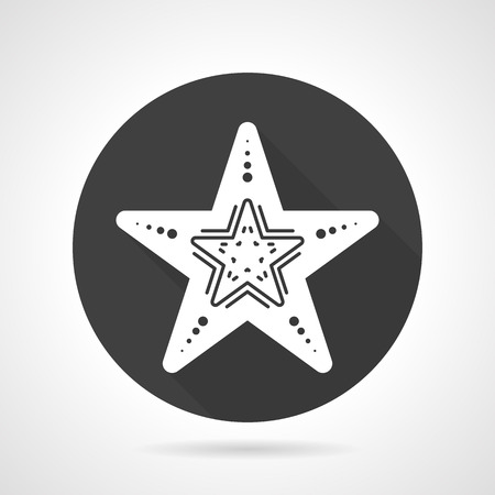 finger fish: Black round flat design vector icon with white silhouette starfish on gray background.