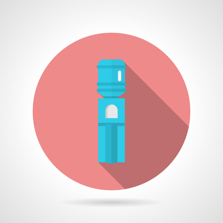 water cooler: Pink round flat design vector icon for blue modern water cooler on gray background. Long shadow design