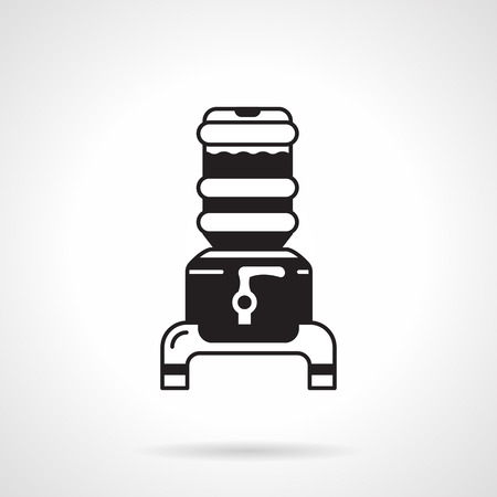 water cooler: Black flat design vector icon for water cooler with big bottle on holder with faucet on white background. Illustration