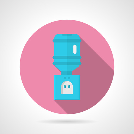 potable: Pink round flat design vector icon for blue electric portable water cooler on gray background. Long shadow design Illustration