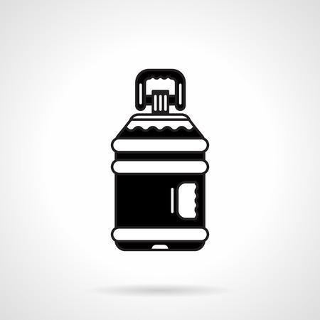 agua purificada: Individual contorno negro iconos de vectores plana para la botella de agua purificada con mango en el fondo blanco.