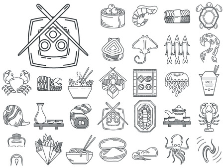 sardine: Black flat line vector icons set of japanese seafood and traditional serving for restaurant menu on white background.