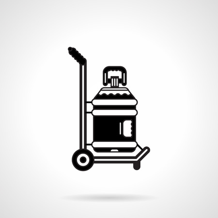 potable: Black contour vector icon for hand truck with big plastic bottle of potable water for delivery services on white background.