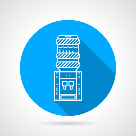 water cooler: Blue round flat design vector icon with white line electric water cooler on gray background with long shadow.