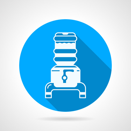 water cooler: Blue round flat design vector icon with white contour modern portable water cooler with jug on gray background with long shadow.