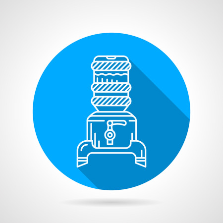 potable: Blue round flat design vector icon with white line water cooler with jug and faucet on gray background. Long shadow design