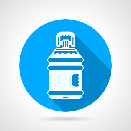 distilled: Blue round flat design vector icon with white contour large plastic bottle of potable or distilled water on gray background. Long shadow design Illustration