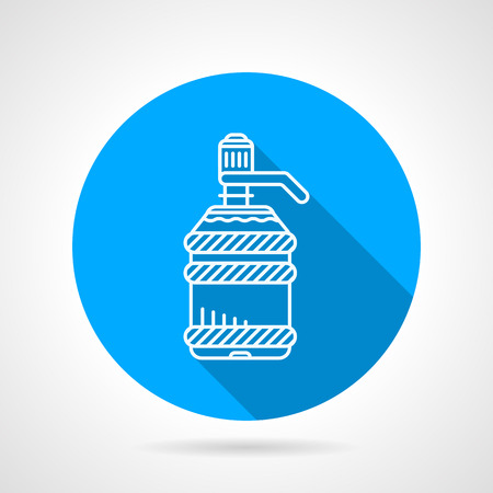 water cooler: Blue round flat design vector icon with white line potable water  bottle for water cooler on gray background. Long shadow design
