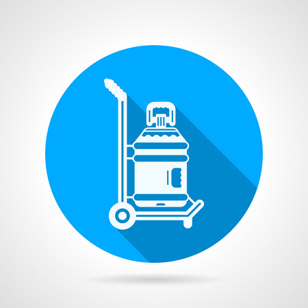 potable: Blue round flat design vector icon with white contour hand truck with a water bottle on gray background with long shadow.