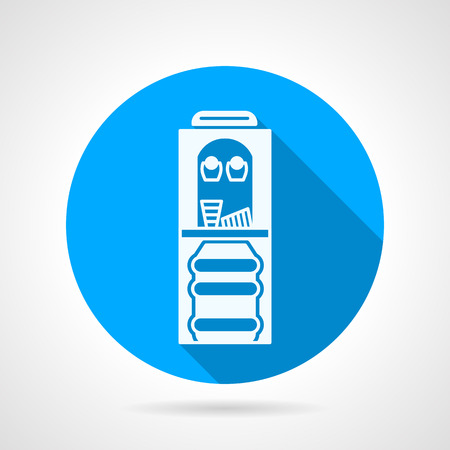 water cooler: Blue round flat design vector icon with white silhouette water cooler with bottle and two cups on gray background with long shadow.