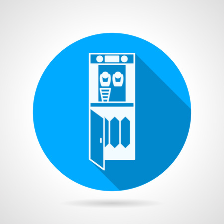 cooler: Blue round flat design vector icon with white contour water cooler with filters on gray background with long shadow.