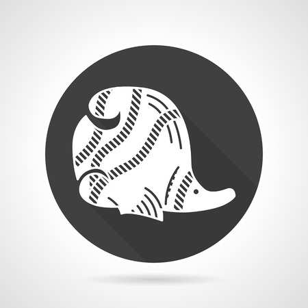 scalar: Black round flat design vector icon with white silhouette striped butterfly-fish on gray background.