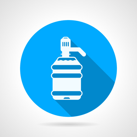 potable: Blue round flat design vector icon with white silhouette plastic bottle with pump on gray background. Illustration