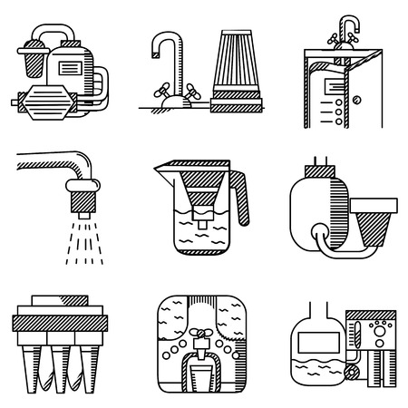 pitcher's: Set of black flat line icons of water filters. Filters for water factories, water filters at home, pitchers with filters and other components for business and website Illustration