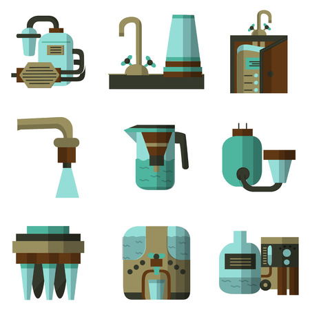 filtration: Set of flat color icons of water filters elements. Filters for water factories, water filters at home, pitchers with filters and other components for business